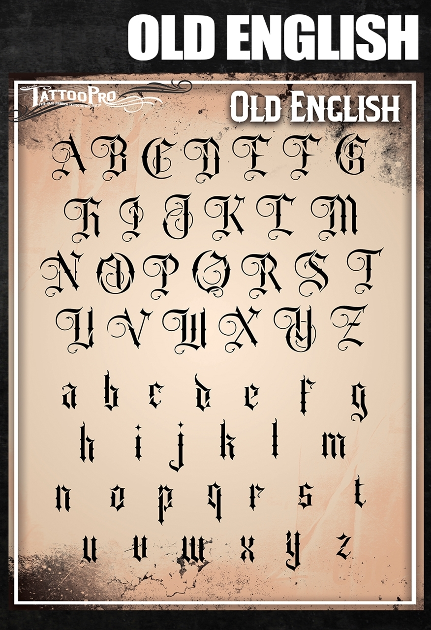 Picture of Tattoo Pro Stencil Font - Old English (ATPSF205)