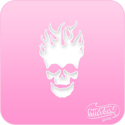 Picture of Pink Power Face Painting Stencil (1112) - Skull Flame