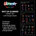 Picture of Best of Glimmer Stencil Set (150 pcs. ) with Design Sheets
