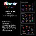 Picture of Glam Rock Stencil Set (150 pcs.) with with Design Sheets