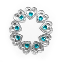 Picture of Double Heart Small Gems - Turquoise - 12mm (9 pc.) (SG-DHST)