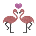 Picture of Kissing Flamingos Glitter Tattoo Stencil - HP (5pc pack)