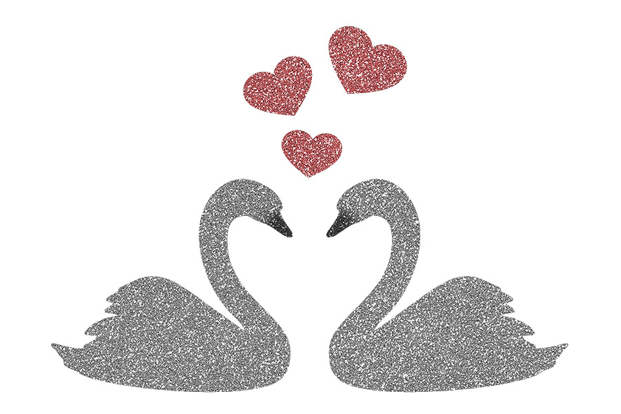 Picture of Kissing Swans Glitter Tattoo Stencil - HP-60 (5pc pack)