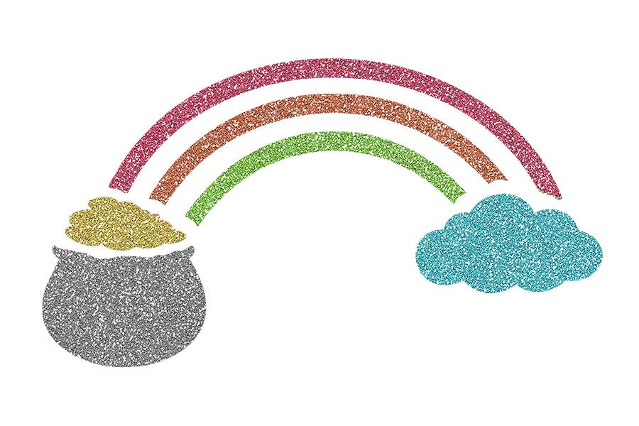 Picture of Pot of Gold with Rainbow Glitter Tattoo Stencil - HP-50 (5pc pack)