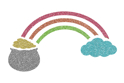 Picture of Pot of Gold with Rainbow Glitter Tattoo Stencil - HP (5pc pack)