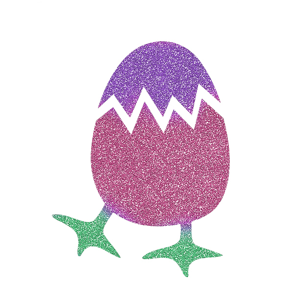 Picture of Cracked Egg with Feet Glitter Tattoo Stencil - HP-92 (5pc pack)