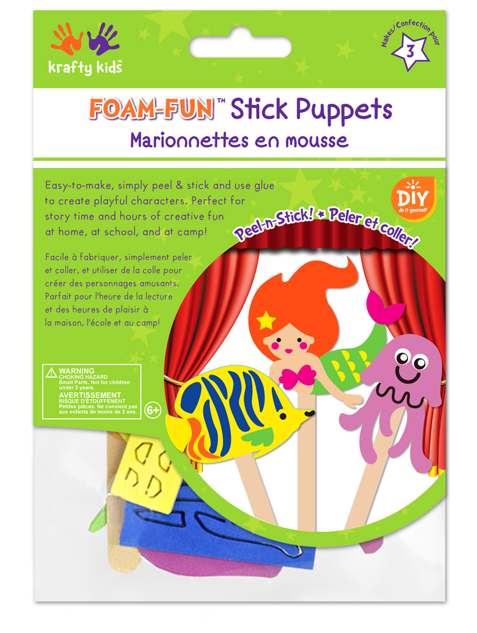 Picture of Krafty Kids Kit: DIY Foam Character Stick Puppets - Ocean Wonders (3pc)