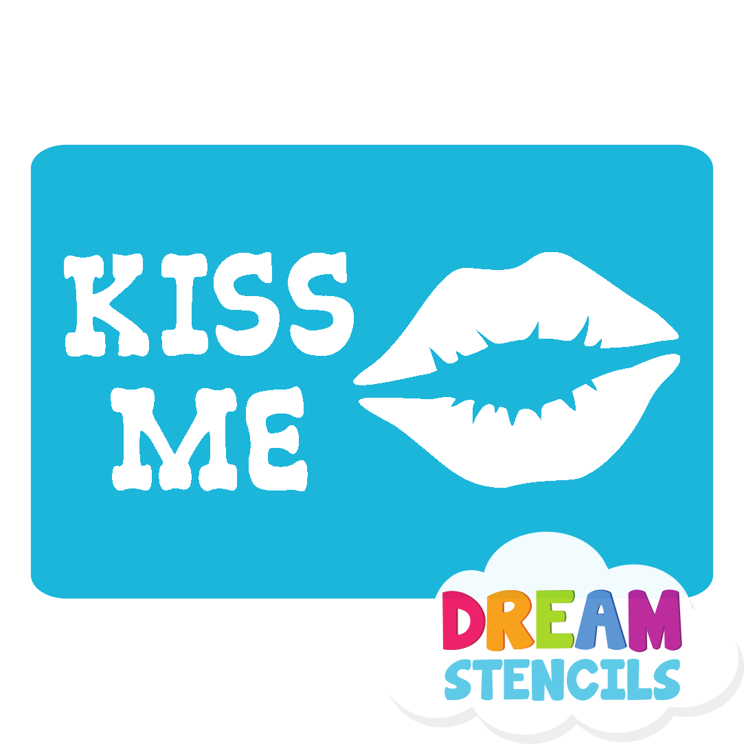 Picture of Kiss Me Glitter Tattoo Stencil - HP-47 (5pc pack)