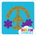 Picture of Flower Round Peace Sign Glitter Tattoo Stencil - HP (5pc pack)