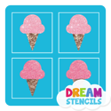 Picture of Mini 4 in 1 Ice Cream Glitter Tattoo Stencil - HP-75 (5pc pack)