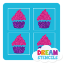 Picture of Mini 4 in 1 Cupcake Glitter Tattoo Stencil - HP (5pc pack)