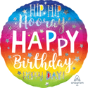 Picture of 18'' Holographic Hip Hip Hooray Birthday Balloon (1pc)
