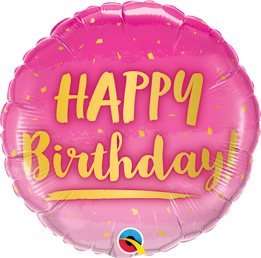 "Picture of 18""  Birthday Gold & Pink Foil Balloon (1pc)"