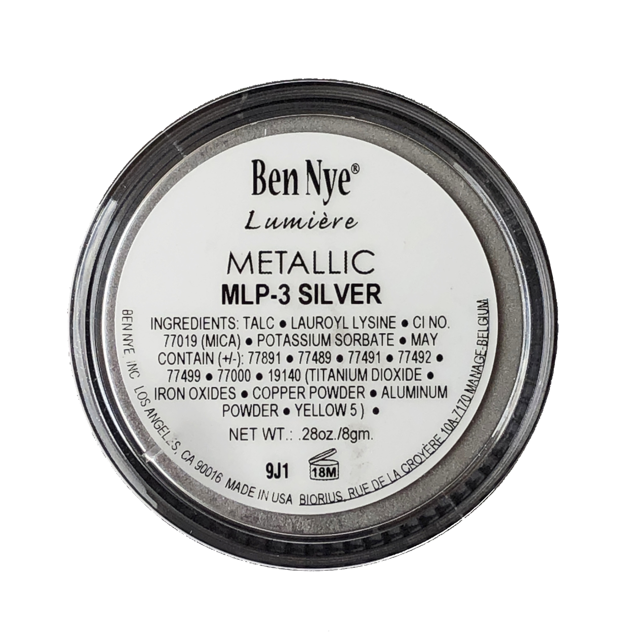 Picture of Ben Nye Lumiere Metallic Powder - Silver (MLP-3)