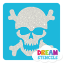 Picture of Skull with Bones Glitter Tattoo Stencil - HP-133 (5pc pack)