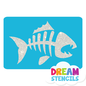 Picture of Fish Skeleton Glitter Tattoo Stencil - HP-140 (5pc pack)