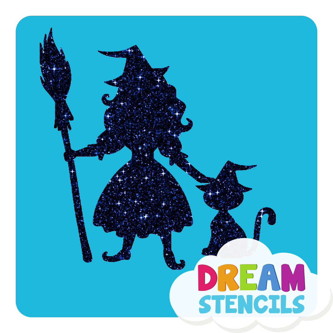 Picture of Pretty Witch With A Cat Glitter Tattoo Stencil - HP-186 (5pc pack)