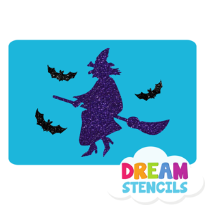 Picture of Witch With Bats Glitter Tattoo Stencil - HP-191 (5pc pack)
