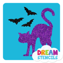 Picture of Scared Cat with Bats Glitter Tattoo Stencil - HP (5pc pack)