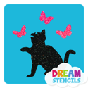 Picture of Sitting Cat With Butterflies Glitter Tattoo Stencil - HP (5pc pack)