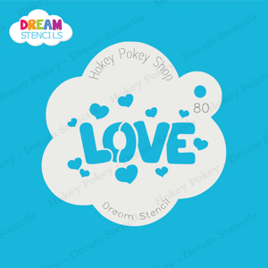 Picture of Love Word with Hearts - Dream Stencil - 80