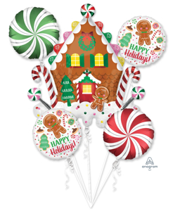 Picture of Balloon Bouquet - Gingerbread House & Holiday Cookies (5 pc)