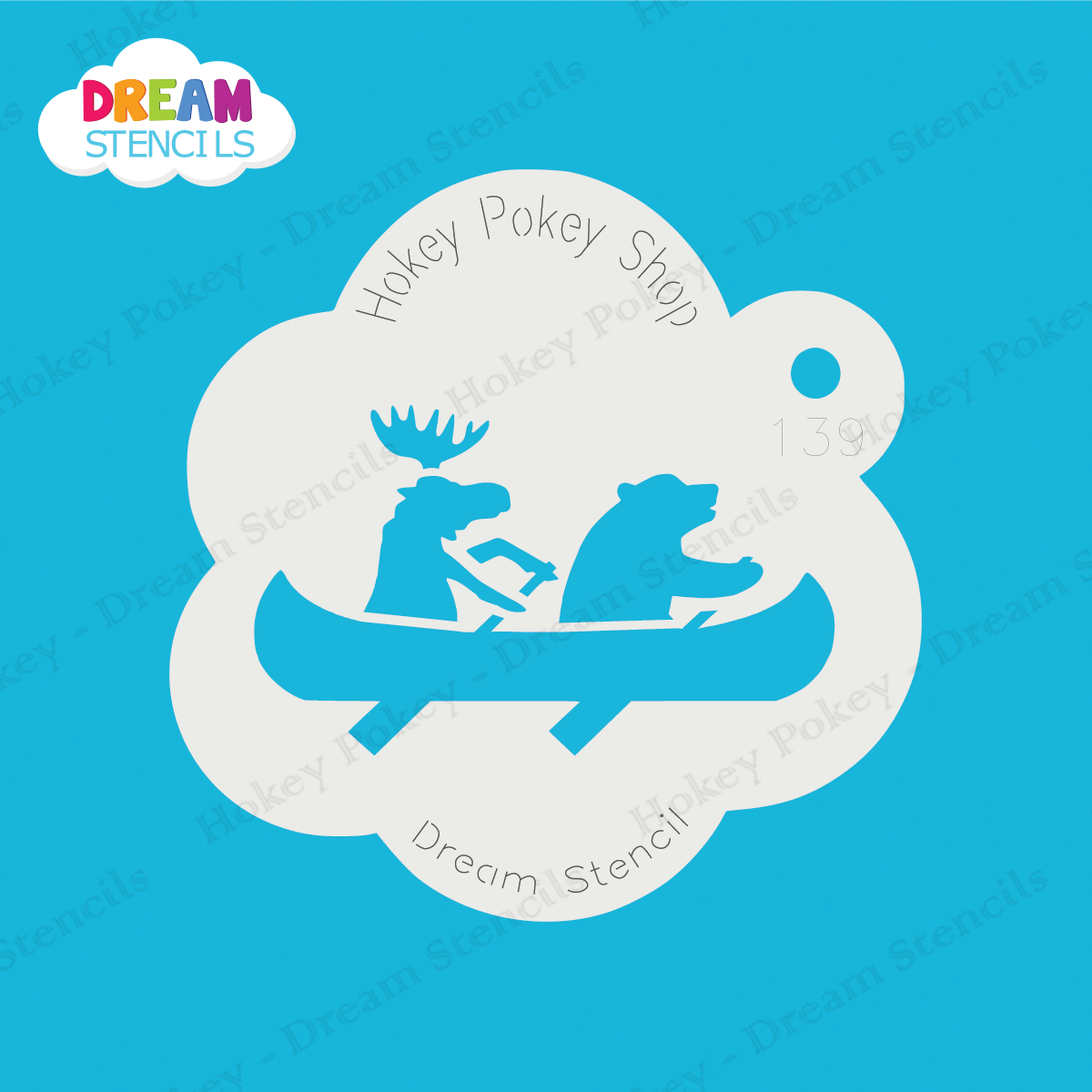 Picture of Moose and Bear in Canoe - Dream Stencil - 139