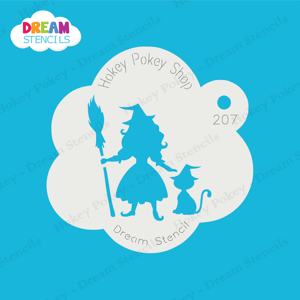 Picture of Pretty Witch With A Cat - Dream Stencil - 207