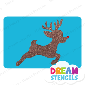 Picture of Flying Rudolph Glitter Tattoo Stencil - HP-210 (5pc pack)