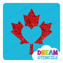 Picture of Canada Maple Leaf Heart Glitter Tattoo Stencil - HP-222 (5pc pack)