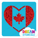 Picture of Canada Heart Flag Glitter Tattoo Stencil - HP-225(5pc pack)