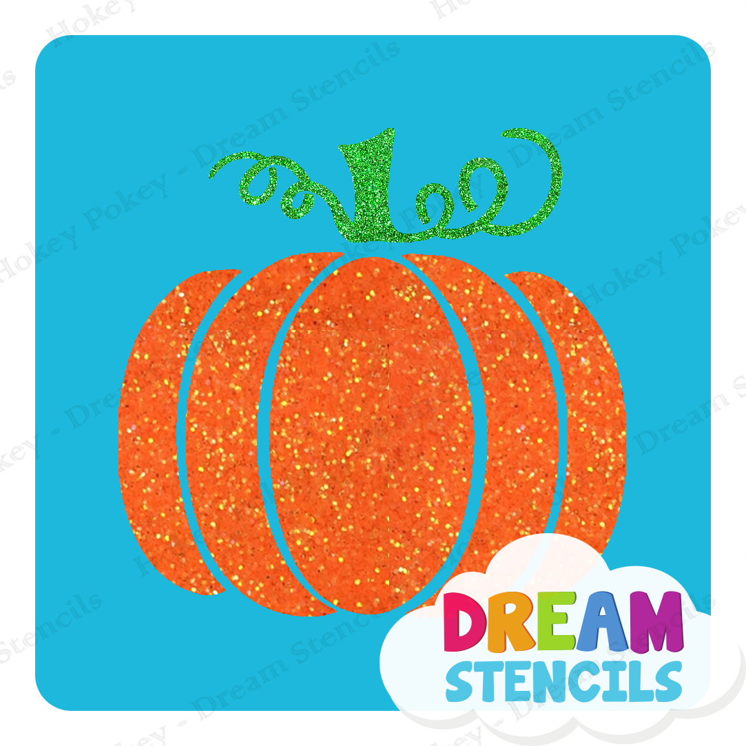 Picture of Pumpkin with Vines Glitter Tattoo Stencil - HP-237 (5pc pack)