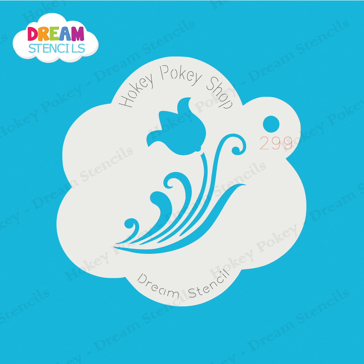Picture of Tulip with Swirls  - Dream Mylar Stencil - 299